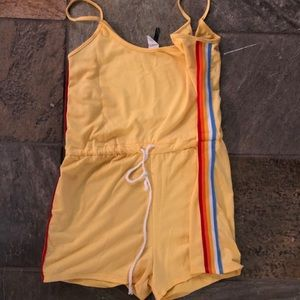 Yellow Romper with Color Stripes